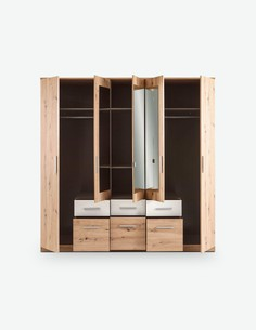 Floriana - Drehtürenschrank mit 2 Holz-, 3 Spiegeltüren und 6 Schubkästen