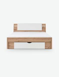 Floriana - Fusto letto con 2 comodini e illuminazione, in legno laminato di colore quercia Artisan / bianco