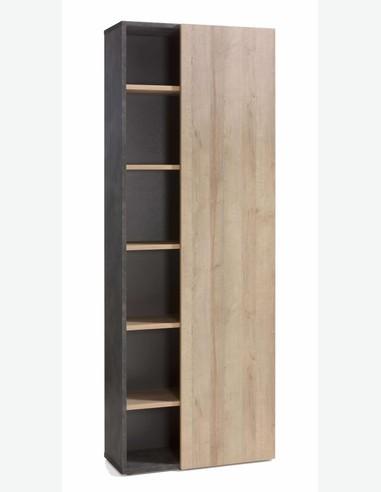 Caruso - Scaffale con 1 anta a battente e 5 ripiani, in legno laminato di colore Tadao / quercia
