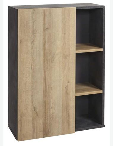 Caruso - Scaffale con 1 anta a battente e 2 ripiani, in legno laminato di colore Tadao / quercia