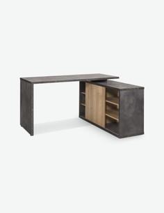 Caruso - Schreibtisch mit 1 Schiebetür und 4 Einlegeböden, aus Holzdekor in der Farbe Tadao / Eiche