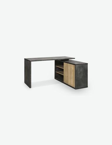 Caruso - Scrivania con 1 anta scorrevole e 4 ripiani, in legno laminato di colore Tadao / quercia