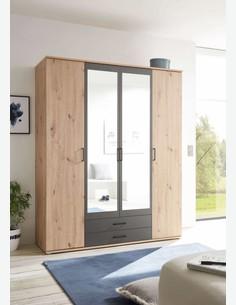 Cremona - Drehtürenschrank mit 2 Holz-, 2 Spiegeltüren und 2 Schubkästen.
