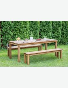 Cesis - Set da giardino, composto da 1 tavolo e 2 panche in legno massiccio di colore marrone