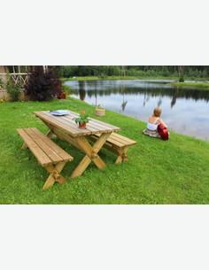Retro - Set da giardino, composto da 1 tavolo e 2 panche in legno massiccio di colore marrone