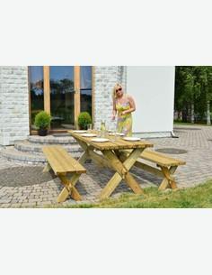 Retro - Gartenset, 3-teilig aus Massivholz. Bestehend aus 2 Bänke und 1 Tisch