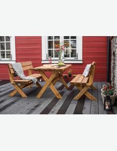 Classic - Set da giardino, composto da 1 tavolo e 2 panche in legno massiccio di colore marrone