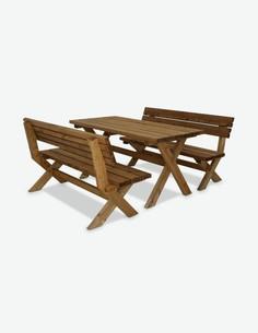 Classic - Gartenset, 3-teilig aus Massivholz. Bestehend aus 2 Bänke und 1 Tisch