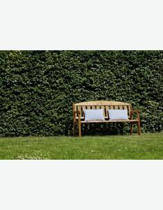 Triple - Gartenbank mit Rückenlehne aus Massivholz, bereits imprägniert