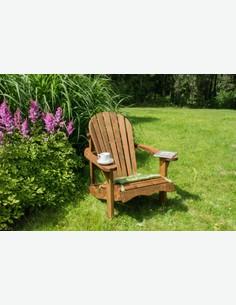 Relax - Poltrona singola da giardino in legno massiccio, con schienale e poggiabraccia. Panca giá impregnata