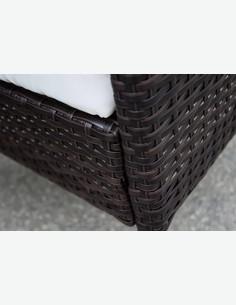 Set di mobili da Giardino//Balcone in Rattan Sintetico di Colore Marrone Scuro con Cuscini Bianchi compresi Limo AVANTI TRENDSTORE Dimensioni Lap 285x82x70 cm