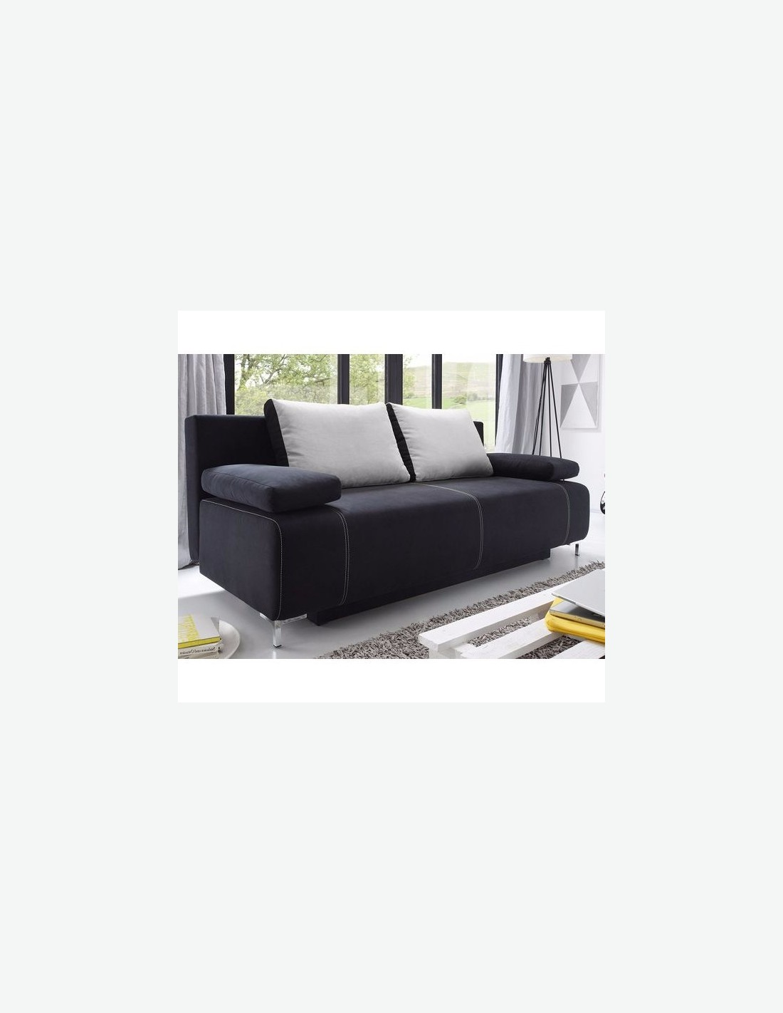 Kinga divano letto con cassettone nero avanti - Divano letto con cassettone ...