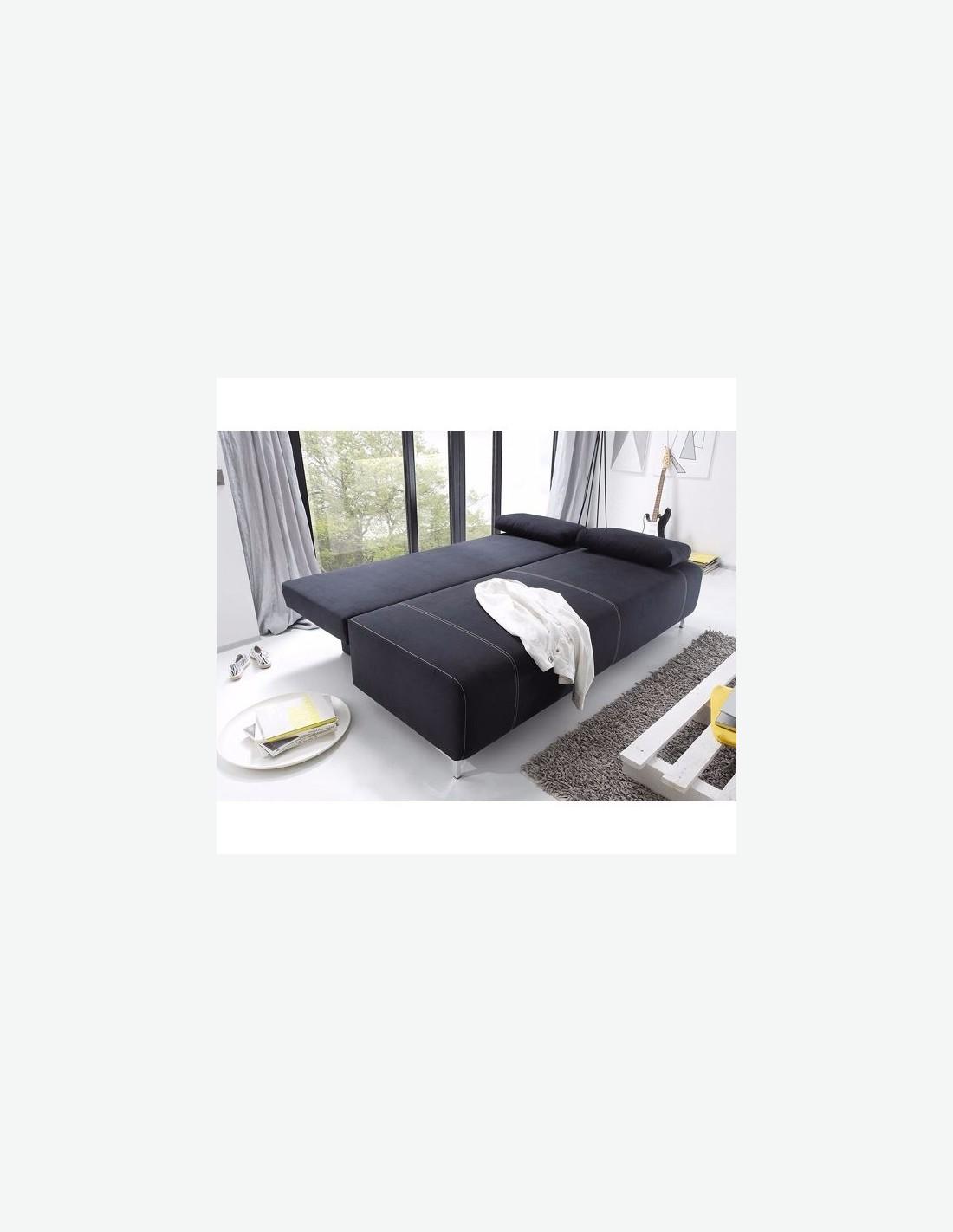 Kinga - Divano letto con cassettone nero  Avanti