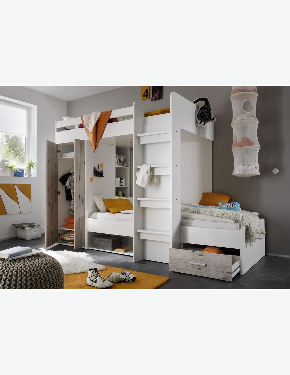 Hochbett wei und sandeiche dekor for Jugendzimmer jungen mit hochbett