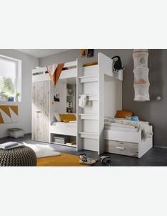 Moritz - Hochbett - weiß und Sandeiche Dekor Milieu