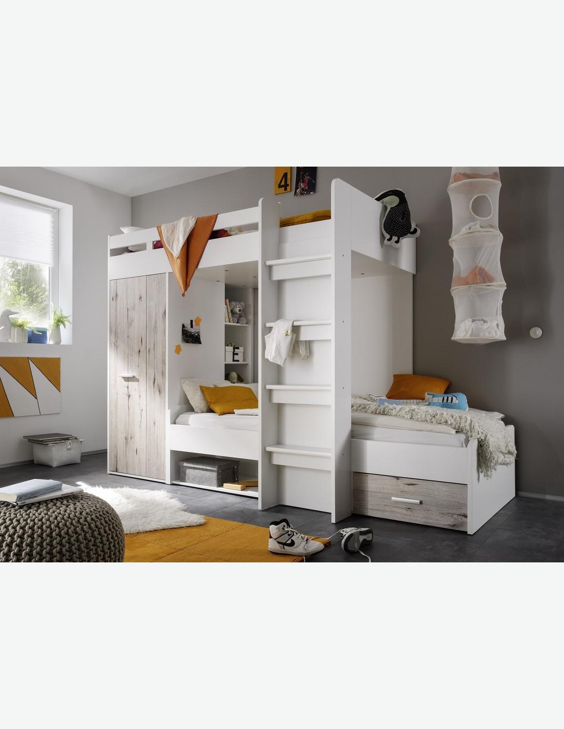 hochbett wei und sandeiche dekor. Black Bedroom Furniture Sets. Home Design Ideas