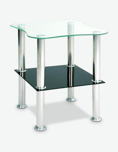 Linus - Tavolino in vetro e acciaio temperato nero
