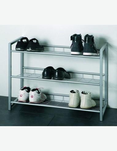 Gudrun - Schuhregal aus alufarbenem Stahlrohr