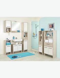 Julian - Waschbeckenunterschrank aus Pinie hell/weiß glanz Dekor
