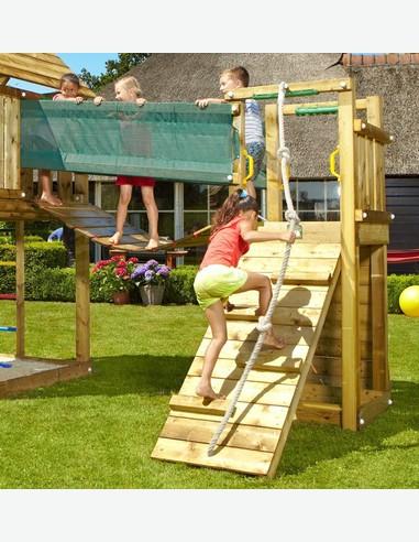 Ponte in legno per torre da gioco con parete d'arrampicata