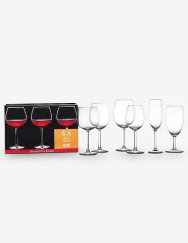 Roma - Set da 6 bicchieri da vino rosso, 57cl