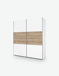 Schwebetürenschrank aus Holzdekor in der Farbe Eiche SanRemo und Weiß.
