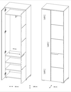 Spilla - Hochschrank in weiß Hochglanz, 1 Holztür, 1 Spiegeltür Maße