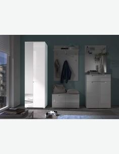 Spilla - Hochschrank in weiß Hochglanz, 1 Holztür, 1 Spiegeltür Milieu