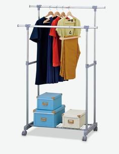 Cesena - Rollgarderobe verchromt / grau mit 1 Ablage und 2 Kleiderstangen
