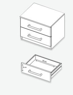 Boris - letto, compresi 2 comodini a 2 cassetti dimensioni