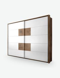 Cesena - Schwebetürenschrank mit 2 Türen aus Wildeiche weiß / Hirnholz Dekor