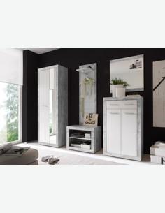 Banjul - Specchio in imitazione di colore grigio cemento milieu