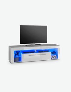 Gabriel - TV-Unterteil in weiß / weiß hochglanz Dekor mit LED Beleuchtung inklusive