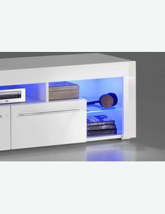 Gabriel - TV-Unterteil in weiß / weiß hochglanz Dekor mit LED Beleuchtung inklusive - Detail